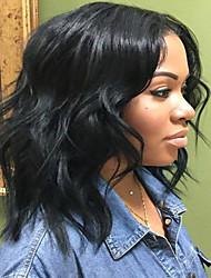 Недорогие -Натуральные волосы Бесклеевая кружевная лента / Лента спереди Парик Перуанские волосы Естественные кудри Парик С пушком 130% Природные волосы / 100% девственница / Необработанные Жен.