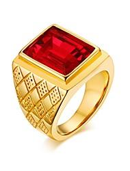 preiswerte -Herrn Bandring Synthetischer Rubin Gold Edelstahl Kreisform Freizeit Modisch Europäisch Strasse Verabredung Modeschmuck