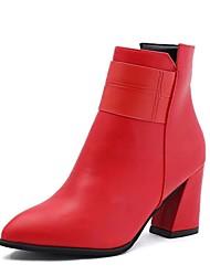 cheap -Women's Boots Fall Winter Comfort PU Casual Low Heel Zipper Black Brown Green