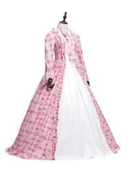 abordables -Victorien Rococo Adulte Robes Bal Masqué Costume de Soirée Cosplay Rose Fleur Manches Longues Longueur Sol