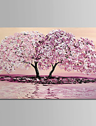 cheap -Oil Painting Hand Painted - Floral / Botanical Simple Modern Canvas