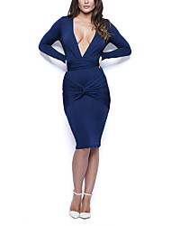cheap -Women's Party Club Street chic Bodycon Dress,Solid Deep V Knee-length Long Sleeve Polyester Winter Fall High Waist Inelastic Thick