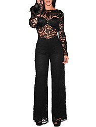 cheap -Women's Party Club Vintage Sexy Solid Round Neck JumpsuitsWide Leg Long Sleeves Spring Fall Polyester
