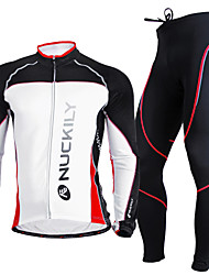 Nuckily Fahrradtrikots mit Fahrradhosen Herrn Langarm Fahhrad Kleidungs-Sets warm halten UV-resistant Atmungsaktiv Komfortabel Polyester