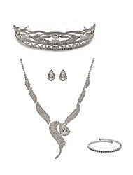 cheap -Women's Rhinestone Imitation Diamond Fox Jewelry Set Body Jewelry / 1 Necklace / Earrings - Fashion / European White Tiaras / Bridal