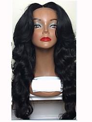 Недорогие -Натуральные волосы Бесклеевая кружевная лента / Лента спереди Парик Перуанские волосы Естественные кудри Парик С пушком 130% Природные волосы / Прямой пробор / 100% девственница Жен.