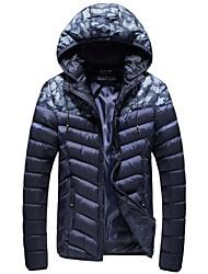 メンズ お出かけ カジュアル/普段着 冬 秋 パッド入り,ストリートファッション フード付き ソリッド レギュラー ポリエステル 長袖