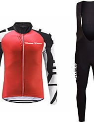 cheap -Cycling Jersey with Bib Tights Unisex Long Sleeves Bike Jersey Clothing Suits Bike Wear Fast Dry Geometric Cycling / Bike Grey Red Black