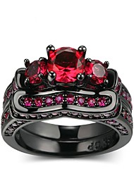 economico -Per donna Ossidiana / Rubino sintetico Band Ring - Placcato in oro Vintage, Elegante 5 / 6 / 7 Nero opaco Per Matrimonio / Fidanzamento / Cerimonia