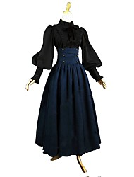 cheap -Outfits / Victorian / Vintage Inspired Costume Women's / Girls' Skirt / Blouse / Shirt Blue / Black Vintage Cosplay Cotton Long Sleeve Puff / Balloon Sleeve Ankle Length