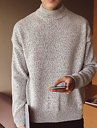 cheap -Men's Casual/Daily Simple Regular Pullover,Solid Turtleneck Long Sleeves Japanese Cotton Fall Opaque Micro-elastic