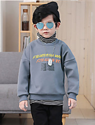 cheap -Boys' Solid Striped Hoodie & Sweatshirt, Cotton Winter Long Sleeves Simple Green Orange Gray