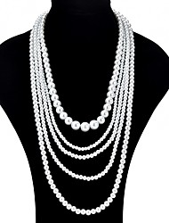 cheap -Women's Layered Necklace - Imitation Pearl Fashion, Oversized White Necklace For Ceremony, Prom