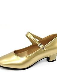 "cheap -Women's Modern Leatherette Heel Outdoor Low Heel Gold Black Silver Dark Red 1"" - 1 3/4"" Customizable"
