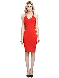 cheap -Women's Party Club Vintage Casual Sexy Bodycon Sheath Dress,Solid Strap Above Knee Sleeveless Rayon Polyester Spandex All Season Spring