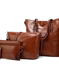 baratos -Mulheres Bolsas PU Conjuntos de saco Conjunto de bolsa de 4 pcs Ziper Marron Escuro / Cinzento Escuro / Vinho