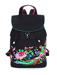 cheap -Women Bags Canvas Backpack Embroidery Zipper for Casual All Season Black