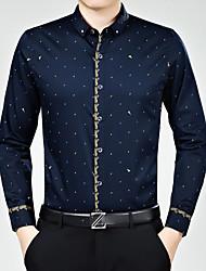 Недорогие -Муж. С принтом Рубашка Шинуазери (китайский стиль) / Длинный рукав