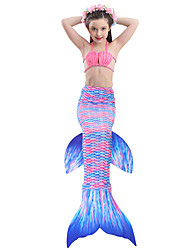 cheap -The Little Mermaid Skirt Swimwear Bikini Kid Christmas Masquerade Festival / Holiday Halloween Costumes Purple Red Blue Pink Color Block