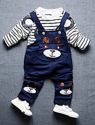 cheap -Boys' Daily Going out Striped Cartoon Clothing Set, Cotton All Seasons Long Sleeves Cute Casual Active Blue