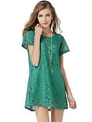 cheap -Women's Plus Size Work Street chic Loose / Lace Dress - Solid Colored High Rise