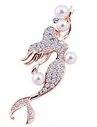 baratos -Mulheres Broches - Imitação de Pérola, Imitações de Diamante Peixes, Princesa Clássico Broche Dourado / Prata Para Diário