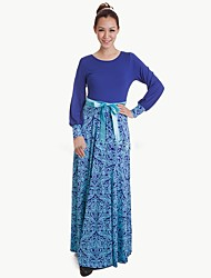 cheap -Ethnic/Religious Jalabiya Kaftan Dress Abaya Arabian Dress Women's Festival / Holiday Halloween Costumes Blue Floral Ethnic Style Dresses