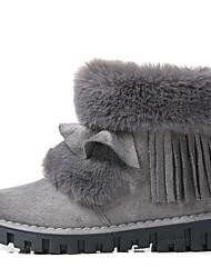 Недорогие -Жен. Обувь Дерматин Весна Зима Зимние сапоги Ботинки На плоской подошве Круглый носок Ботинки Ленты для Черный Коричневый