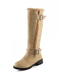 cheap -Women's Shoes Fleece Leatherette Winter Fall Fashion Boots Boots Chunky Heel Round Toe Knee High Boots Buckle for Casual Dress Yellow