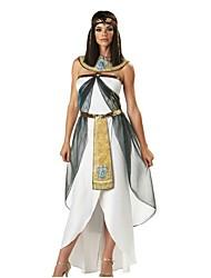 abordables -Cleopatra L'Egypte ancienne Costume Femme Bal Masqué Blanc Vintage Cosplay Spandex Sans Manches Accueil froid Longueur Cheville