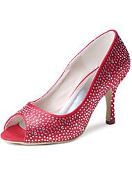 preiswerte -Damen Schuhe Seide Frühling Sommer Pumps Hochzeit Schuhe Konischer Absatz Geschlossene Spitze Strass für Hochzeit Party & Festivität Rot