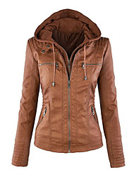 cheap -Women's Daily Casual Winter Fall Leather Jacket,Solid Round Neck Long Sleeve Long PU Oversized