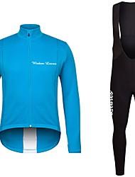 cheap -Cycling Jersey with Bib Tights Unisex Long Sleeves Bike Jersey Clothing Suits Bike Wear Fast Dry Geometric Cycling / Bike Blue Fuchsia