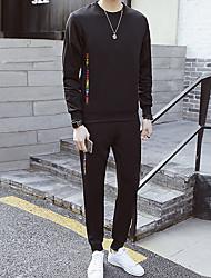 Herrer I-byen-tøj Afslappet/Hverdag Sweatshirt Farveblok Rund hals Polyester Mikroelastisk Langt Ærme Forår/Vinter