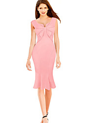 cheap -Women's Work Slim Bodycon Trumpet/Mermaid Dress - Solid Striped, Backless Bow Ruffle V Neck