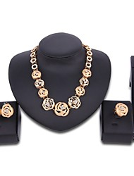 preiswerte -Damen Zirkon vergoldet überdimensional Schmuck-Set 1 Halskette 1 Armreif 1 Ring Ohrringe - überdimensional Erklärung Blume Schmuckset Für