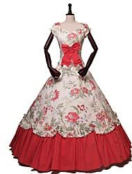 abordables -Rococo Victorien Costume Adulte Costume de Soirée Bal Masqué Beige Vintage Cosplay Coton Manches Courtes Accueil froid Longueur Cheville