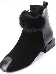 cheap -Women's Shoes Suede Winter Fashion Boots Boots Low Heel Square Toe Mid-Calf Boots Feather for Casual Black