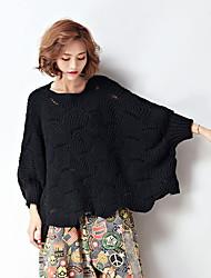 economico -Standard Pullover Da donna-Casual Semplice Tinta unita Rotonda Manica lunga Cashmere Inverno Spesso Media elasticità