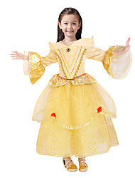 baratos -Princesa Conto de Fadas Belle Vestidos Festa a Fantasia Criança Natal Aniversário Baile de Máscaras Festival / Celebração Trajes da Noite