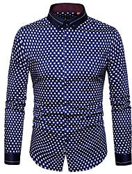 メンズ お出かけ カジュアル/普段着 シャツ,ストリートファッション シャツカラー 水玉 ポリエステル 長袖