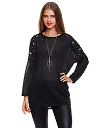cheap -Women's Daily Going out Cute Casual Street chic Regular Pullover,Solid Round Neck Long Sleeves Nylon Spandex Winter Fall Thin