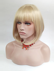cheap -Synthetic Wig Straight Bob Haircut With Bangs Blonde Women's Capless Natural Wigs Medium Synthetic Hair