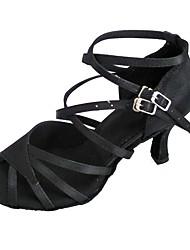 preiswerte -Damen Schuhe für den lateinamerikanischen Tanz Satin Sandalen Maßgefertigter Absatz Maßfertigung Tanzschuhe Weiß / Schwarz / Innen