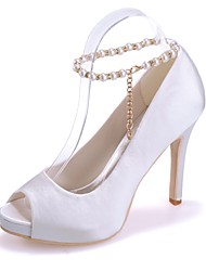 cheap -Women's Shoes Satin Spring / Summer Basic Pump Wedding Shoes Stiletto Heel Peep Toe Imitation Pearl Blue / Pink / Ivory / Party & Evening