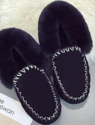 Feminino Sapatos Couro Ecológico Primavera Outono Conforto Botas de Neve Botas Sem Salto Botas Curtas / Ankle para Casual Preto Cinzento