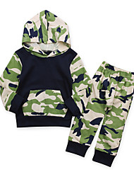 cheap -Baby Boys' Daily Going out Print Clothing Set, Cotton All Seasons Simple Casual Long Sleeves Green