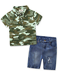 cheap -Boys' Dresswear Stripe / Patchwork / Other Short Sleeve Cotton / Denim Clothing Set