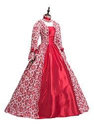 cheap -Rococo Victorian Adults' One Piece Dress Party Costume Masquerade Cosplay Red Floral Long Sleeves