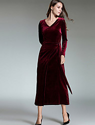 cheap -Women's Casual/Daily Simple A Line Dress,Solid V Neck Maxi Long Sleeve Polyester Winter Fall Mid Rise Micro-elastic Thick